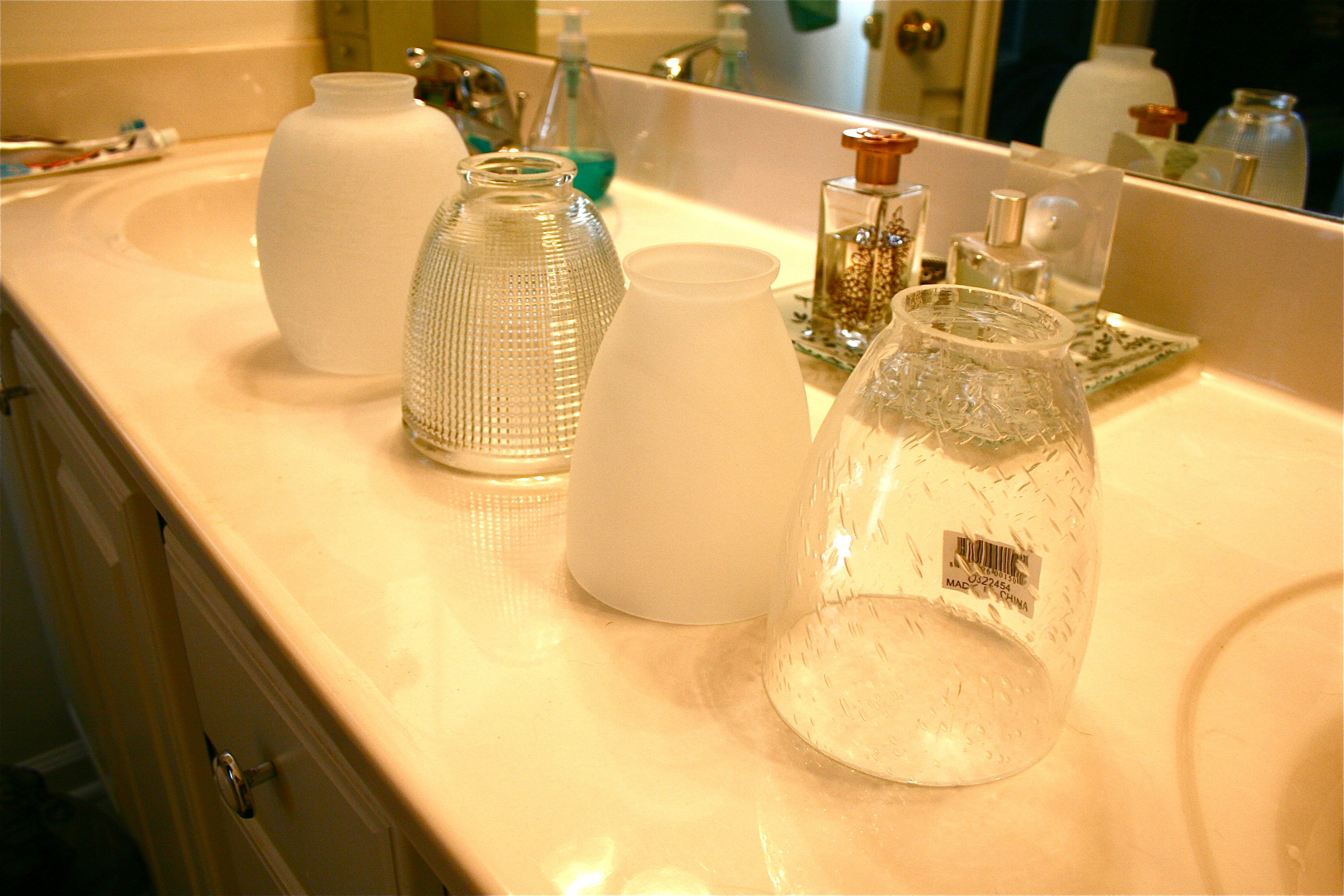 Updating The Bathroom Light Fixture Dream Green DIY - Bathroom light shades replacement for bathroom decor ideas