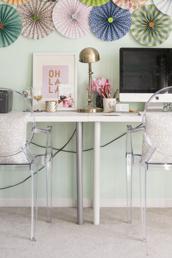 IKEA Hack e Leggy Gold Desk Dream Green DIY