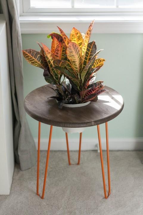 DIY Hairpin Leg Planter Side Table