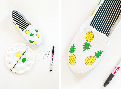 DIY Pineapple and Banana Painted Canvas Shoes | Dream Green DIY + @ehow