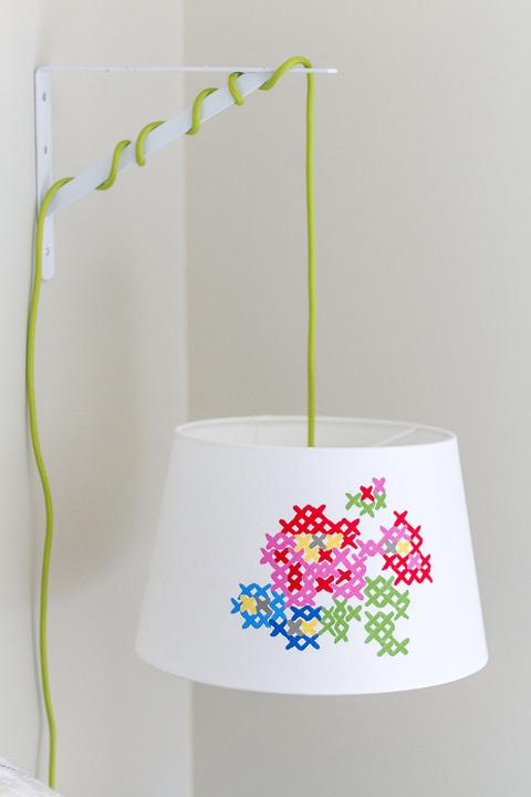 DIY Painted Cross Stitch Lamp Shade