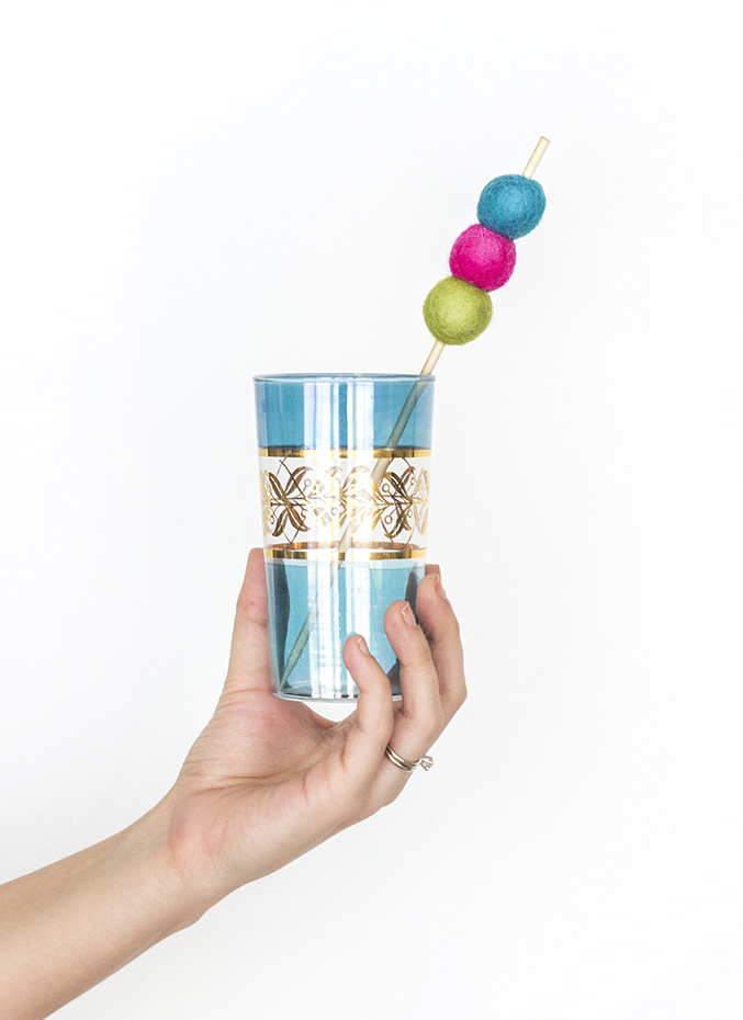 Diy Felt Ball Kabob Cocktail Stirrers Decor Blog