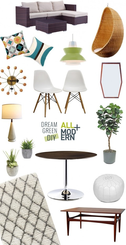 A Mid-Century Sunroom Makeover: Inspiration | Dream Green DIY + @allmodern