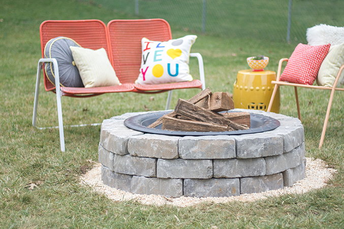 how to build a stone patio with a fire pit