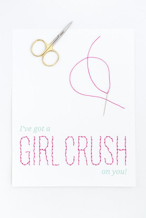 DIY Girl Crush Stitched Valentine Card | dreamgreendiy.com