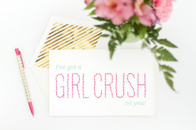 DIY Girl Crush Stitched Valentine Card | dreamgreendiy.com
