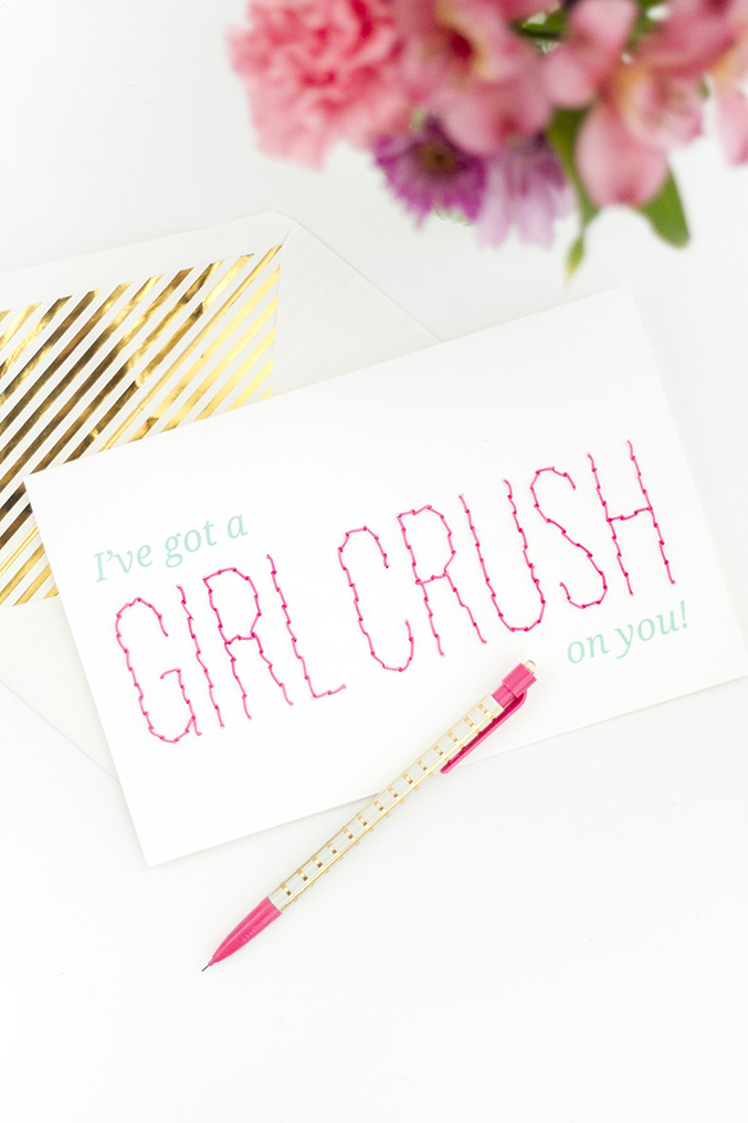 DIY Printable Girl Crush Stitched Valentines Day Card Dream – Girl Valentine Cards