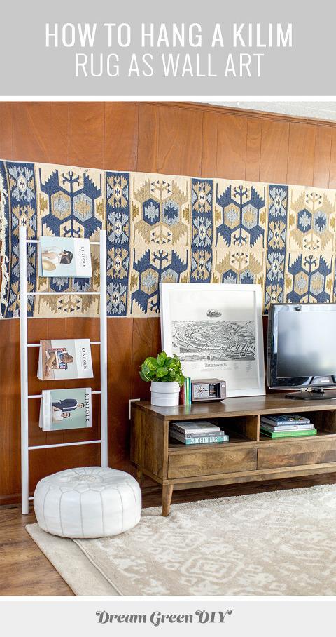 how to hang a kilim rug as wall art dream green diy. Black Bedroom Furniture Sets. Home Design Ideas