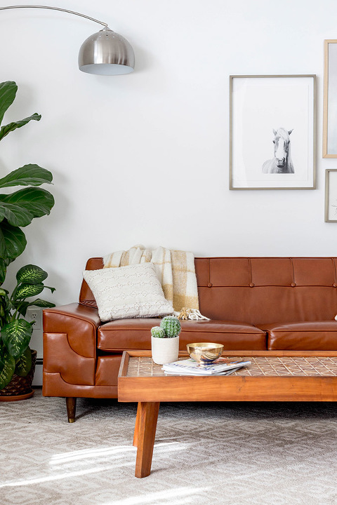Before Amp After Mid Century Tufted Leather Couch
