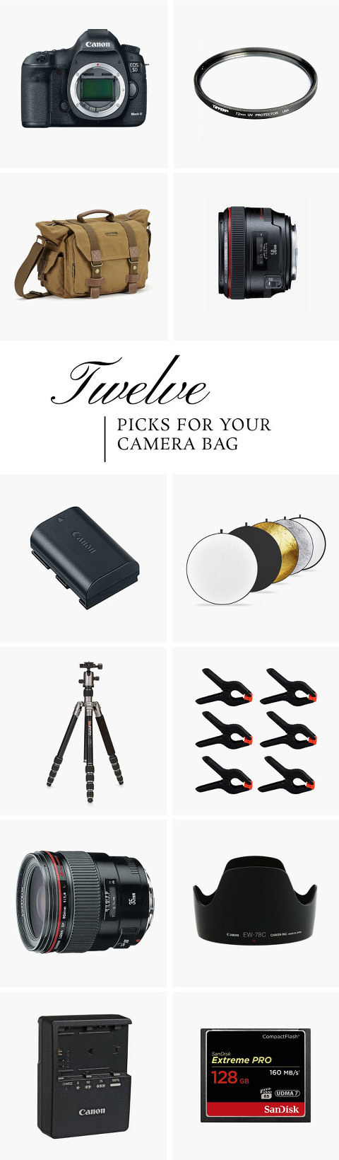 Everything You Need To Fill Your Pro Camera Bag | dreamgreendiy.com