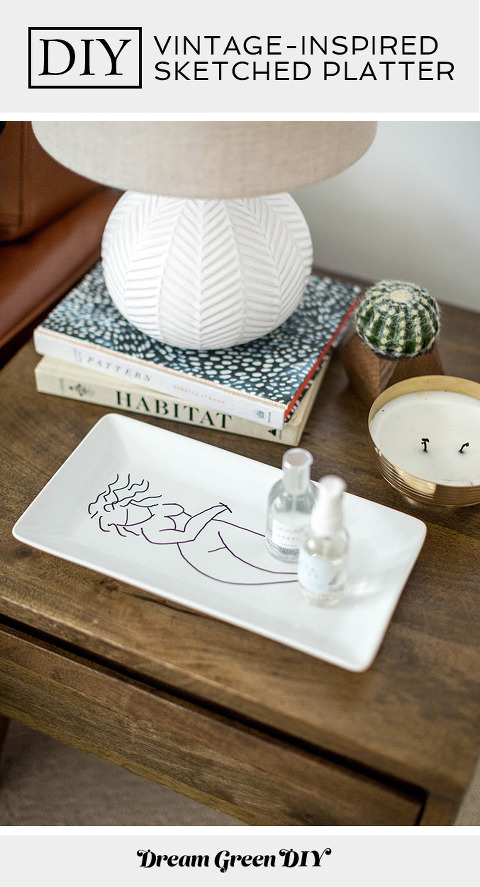 DIY Vintage-Inspired Sketched Lady Platter