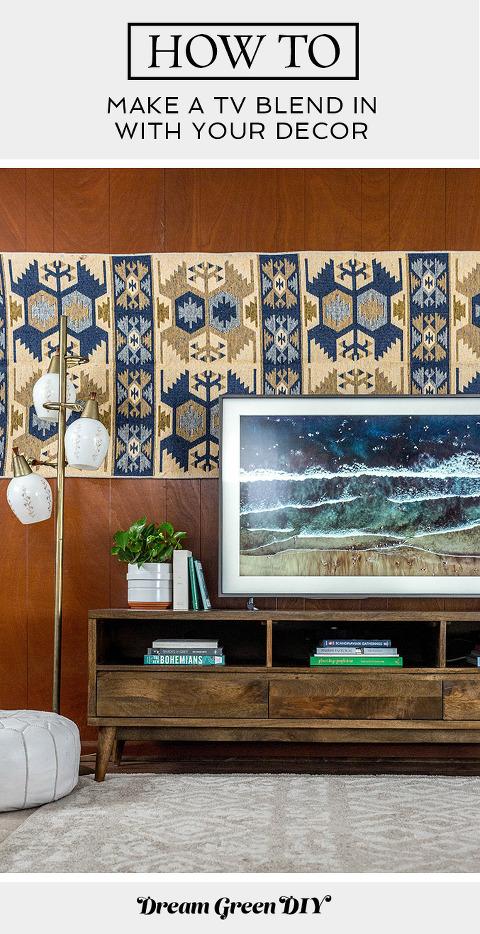 How To Make A TV Blend In With Your Decor | dreamgreendiy.com + samsung.com #ad