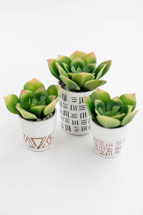 DIY Hand-Etched Mini Succulent Pots | dreamgreendiy.com + @orientaltrading