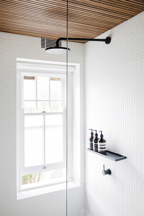 White square tile in a shower