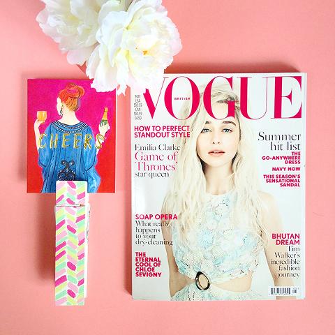 "Styled: British Vogue and Thimblepress ""Cheers"" Card   via @dreamgreendiy on Instagram"