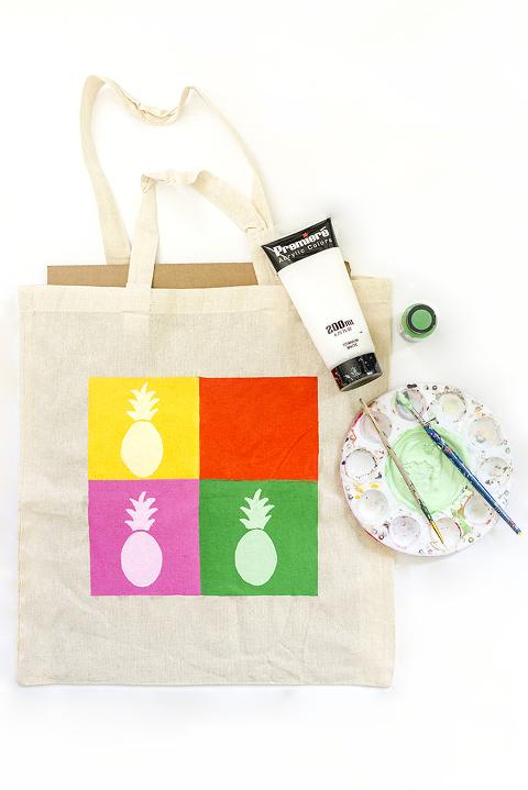 DIY Pineapple Pop Art Inspired Tote Bag | Dream Green DIY