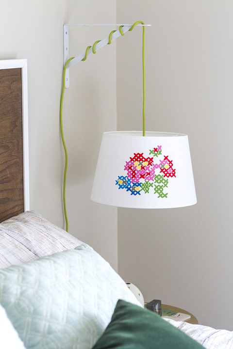 DIY Painted Cross Stitch Lamp Shade | Dream Green DIY