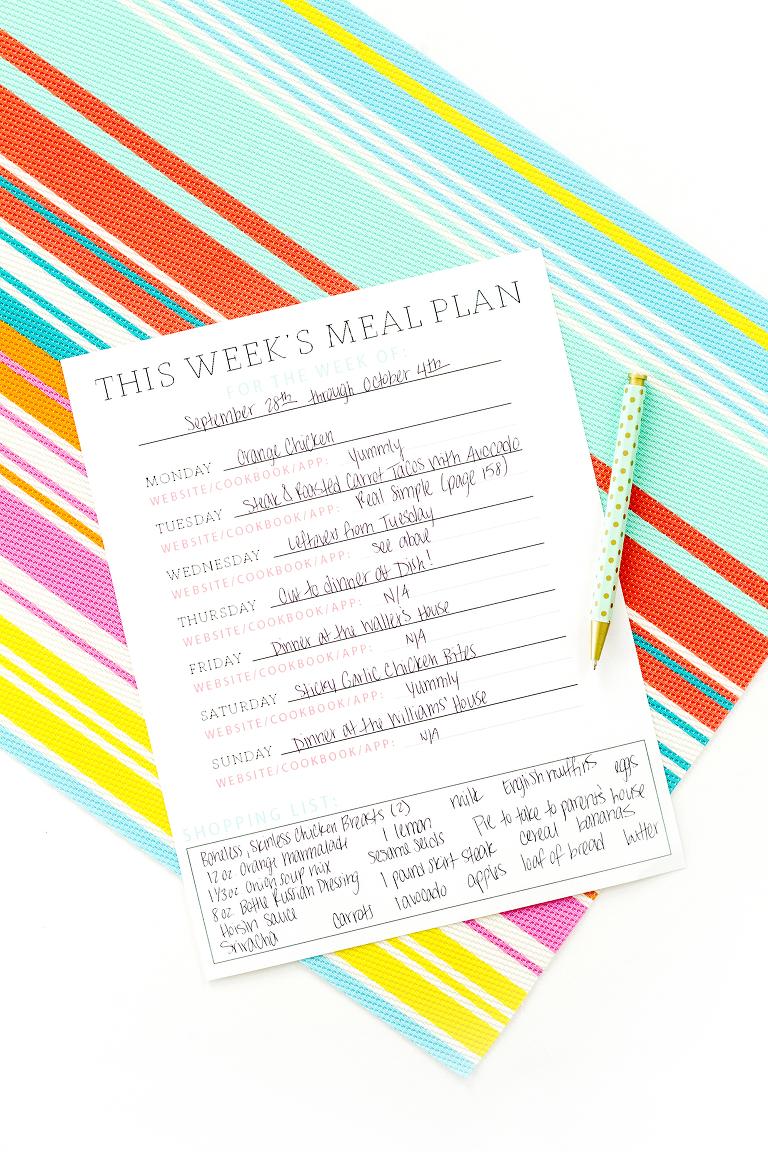 10-Minute Meal Plan Printable | Dream Green DIY
