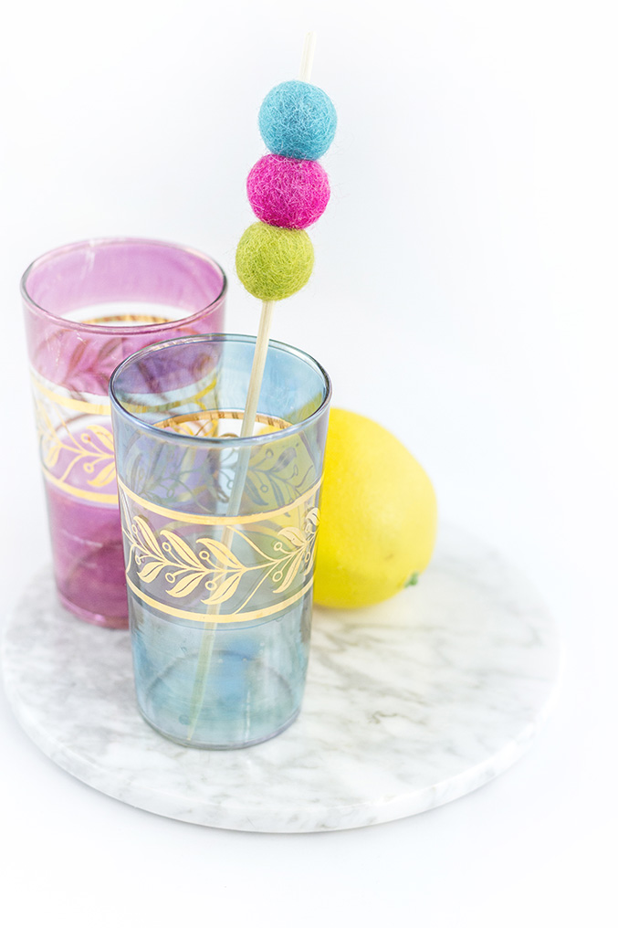 DIY Felt Ball Kabob Cocktail Stirrers | Dream Green DIY