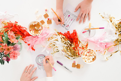 How To Host An Adult Valentine Coloring Party | dreamgreendiy.com + @orientaltrading, photos by @photopesce