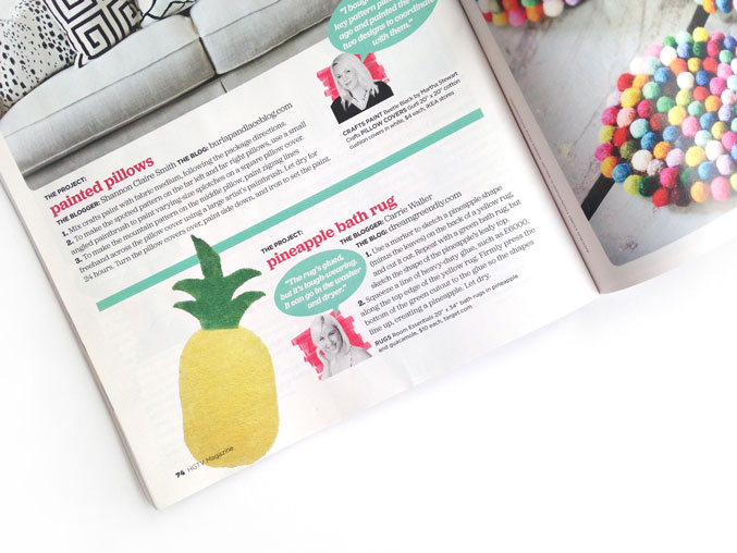 DIY Pineapple Rug Featured In HGTV Magazine | dreamgreendiy.com