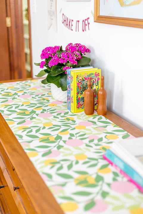 DIY Wallpaper-Embellished Dresser | dreamgreendiy.com + @spoonflower