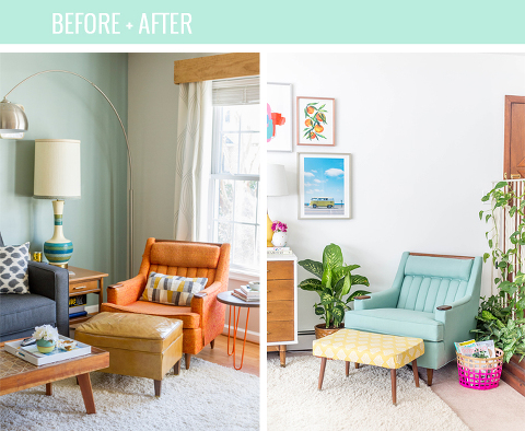 Reupholstered Mid-Century Lounge Chair Makeover | dreamgreendiy.com + @buyfabrics