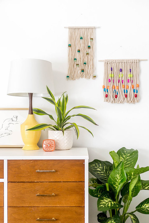 DIY Bohemian Beaded Knots Wall Hanging | dreamgreendiy.com + @orientaltrading