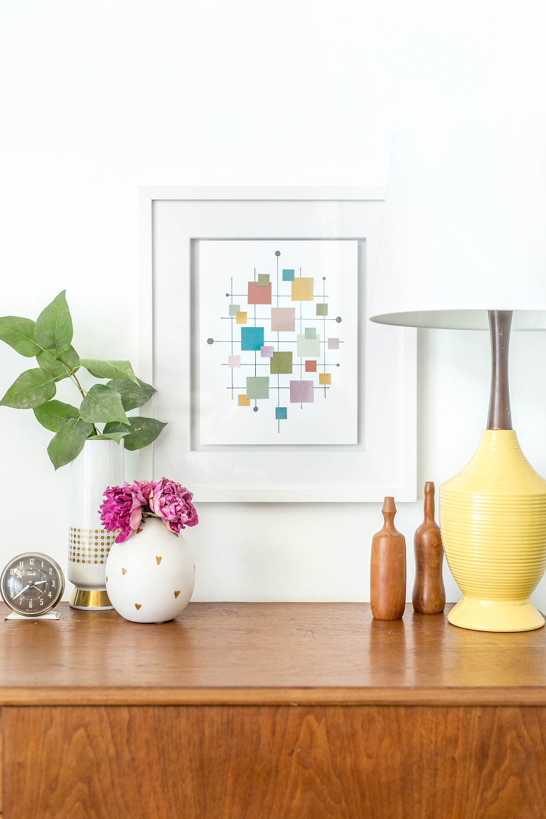 DIY Mid-Century Inspired Paint Chip Wall Art Print | dreamgreendiy.com + @ehow
