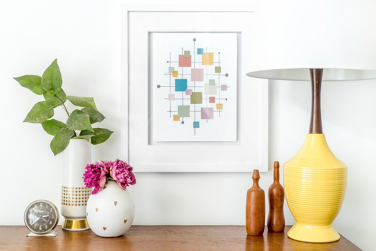 DIY Mid Century Inspired Paint Chip Wall Art Print | Dreamgreendiy.com + @