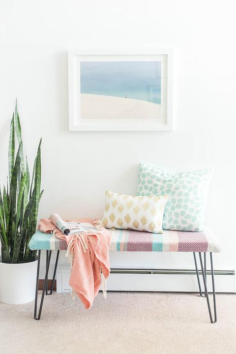DIY Cotton Upholstered Hairpin Leg Bench | dreamgreendiy.com @refinery29 @discovercotton