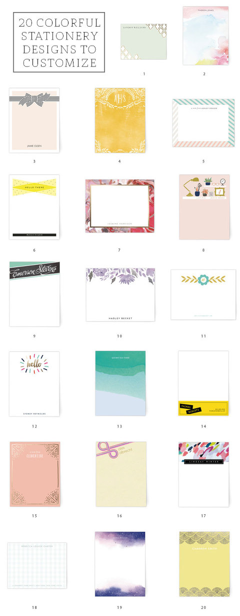 20 Colorful Stationery Designs To Customize | dreamgreendiy.com