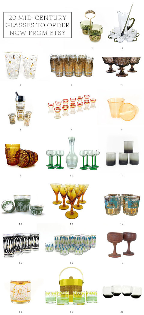 20 Mid-Century Glasses To Order Now From @Etsy | dreamgreendiy.com