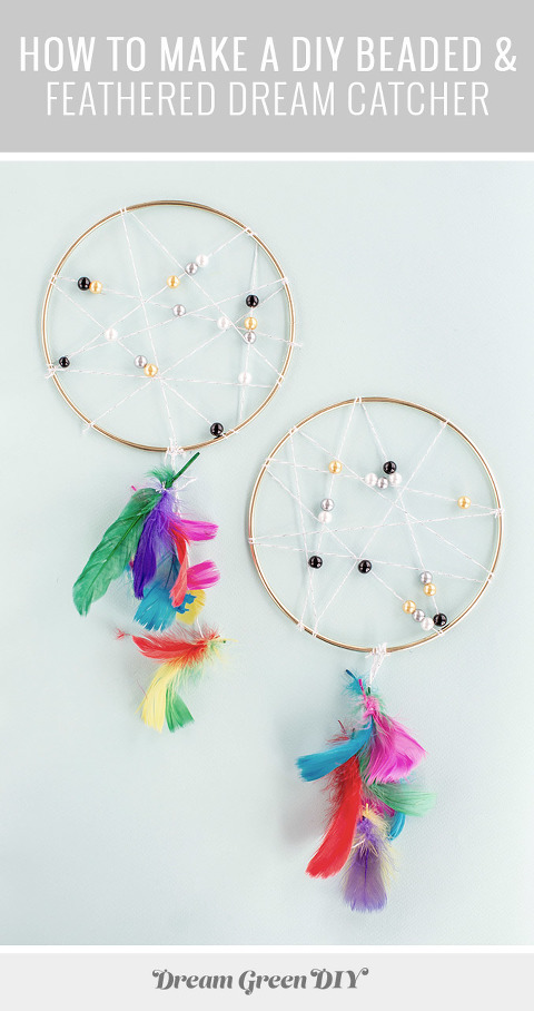 How To Make A DIY Beaded & Feathered Dream Catcher | dreamgreendiy.com + @orientaltrading