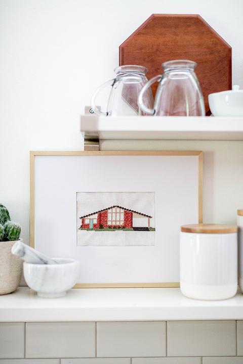DIY Framed Cross Stitch House Portrait
