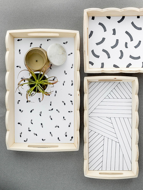 Scalloped Edge Tray With DIY Paper Liner | dreamgreendiy.com + @orientaltrading