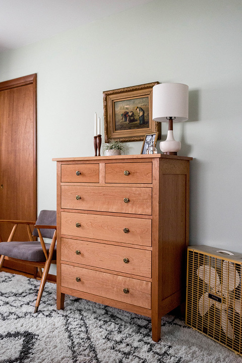 Traditional dresser in a mid-century style home