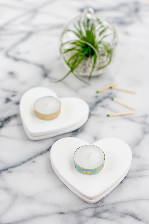 DIY Valentine's Day Heart Tile Candle Coasters | dreamgreendiy.com + @orientaltrading