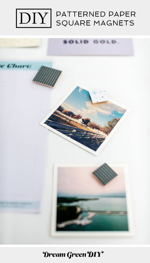 DIY Patterned Paper Wood Square Magnets | dreamgreendiy.com + @orientaltrading