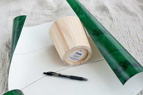 DIY Wood Pot With Green Marble Wallpaper
