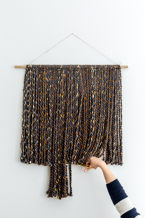 DIY Yarn Wall Hanging With Brass Rings