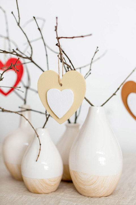 DIY Valentine's Day Wood Heart Ornament Tree | dreamgreendiy.com + @orientaltrading