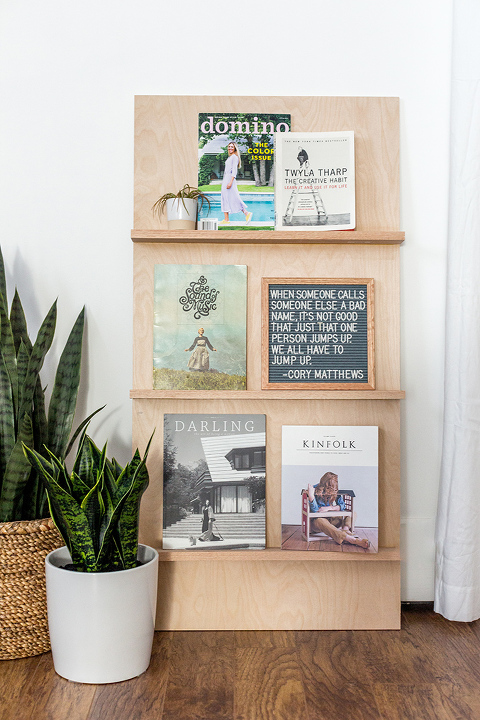 DIY Free-standing Plywood Magazine Rack