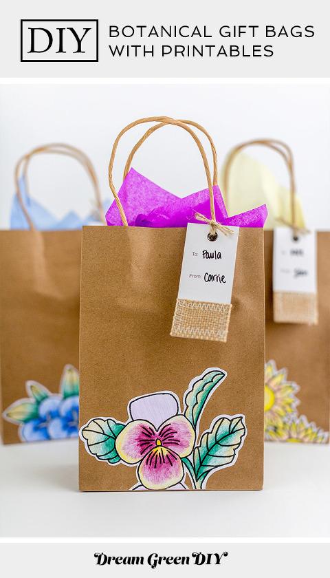DIY Botanical Gift Bags with Printables   dreamgreendiy.com + @orientaltrading #ad