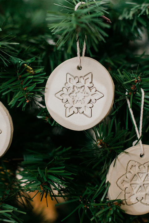 DIY Stamped Air Dry Clay Christmas Ornaments