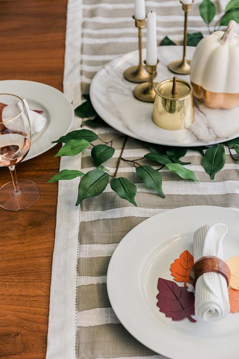 DIY Striped Thanksgiving Table Runner