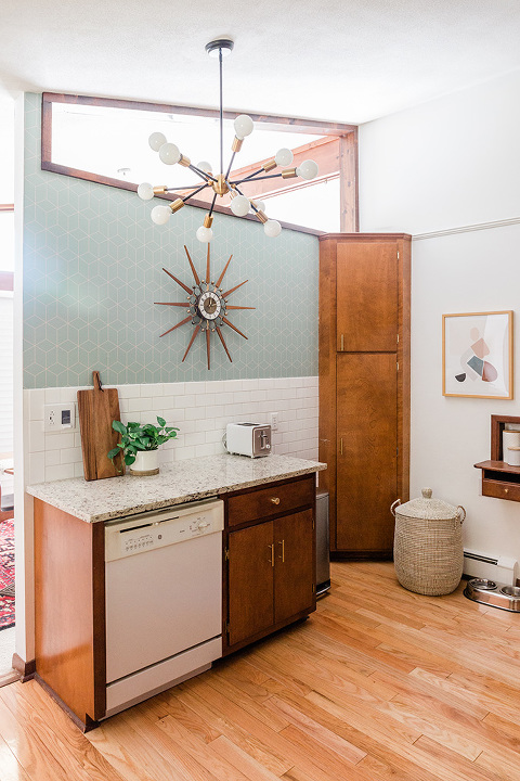 Mid-century kitchen with wood cabinets