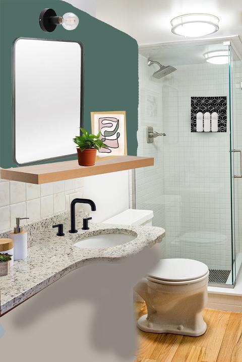 Modern colorful bathroom makeover