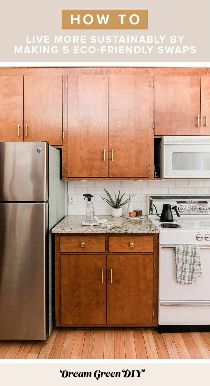 Mid-century stained wood kitchen cabinets