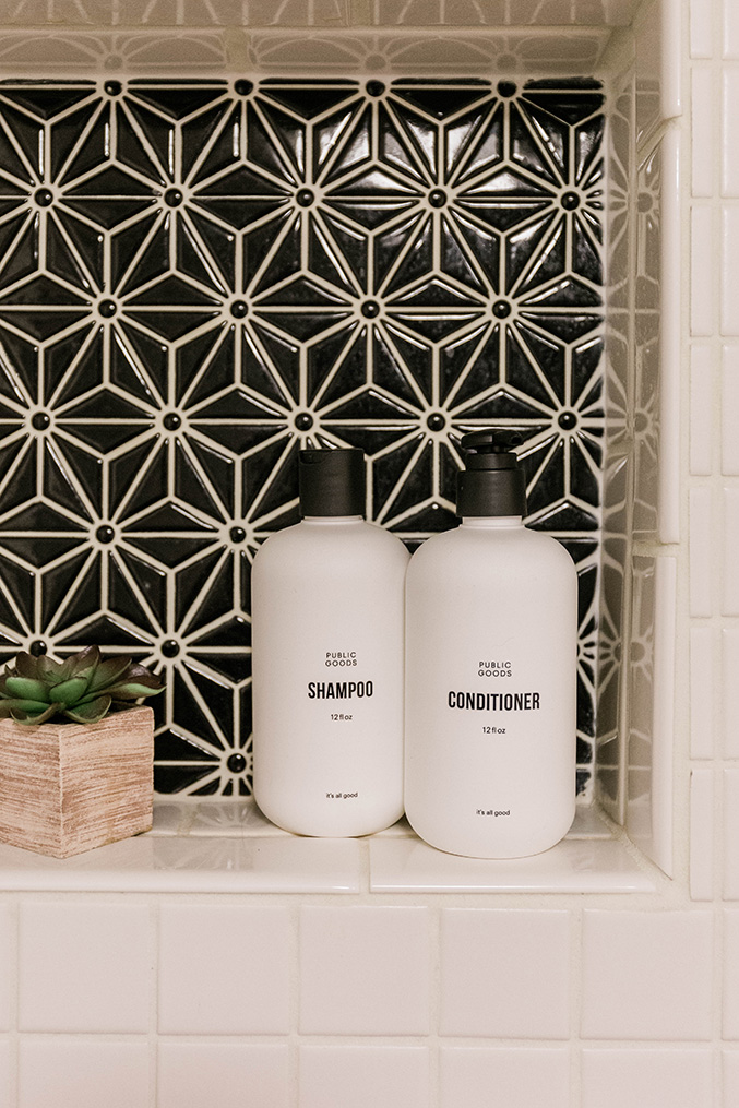 Minimalist shampoo and conditioner bottles